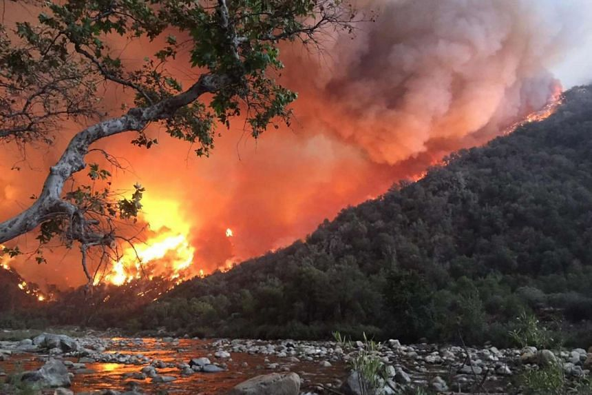 A handout picture from the US Forest Service on Sept 20, 2015, shows an out-of-control wildfire approaching Kings River, east of Fresno, California.