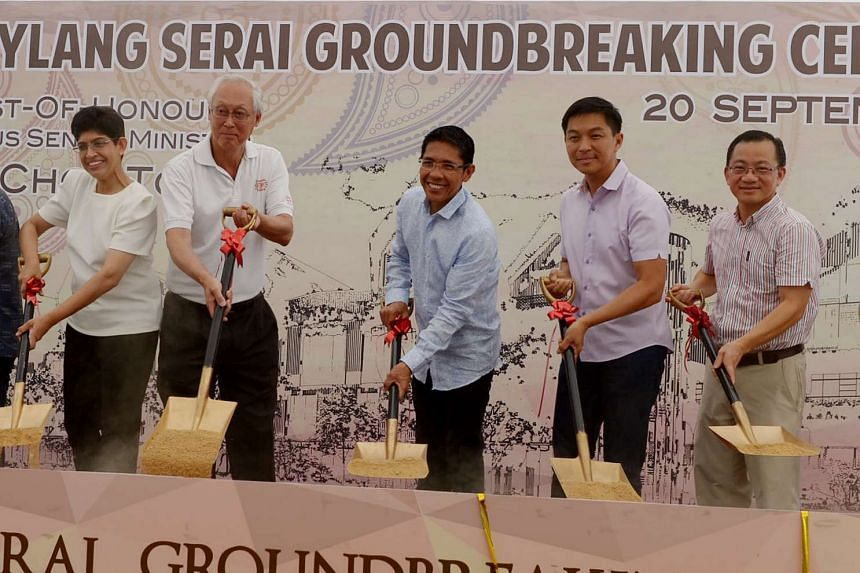 (From left) Associate professor Fatimah Lateef, ESM Goh Chok Tong, Dr Maliki Osman, Mr Tan Chuan-Jin and Mr Seah Kian Peng at the ground-breaking ceremony for Wisma Geylang Serai, which will open in 2018.