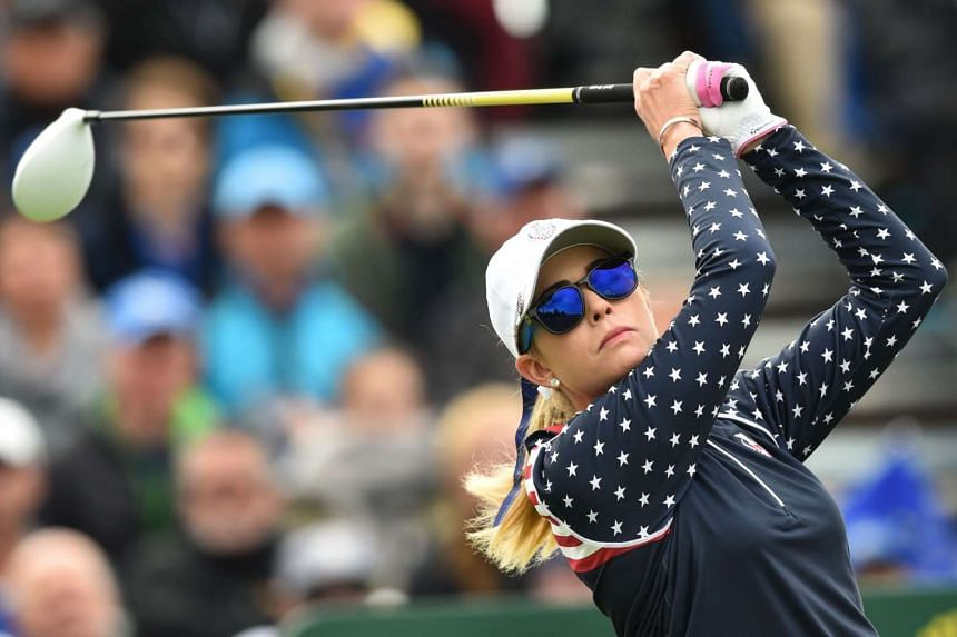 US golfer Paula Creamer tees off during the Solheim Cup in southern Germany on Sept 20, 2015.