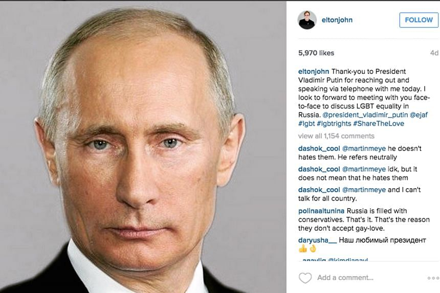 Pop star Elton John's posting of a photo of Mr Putin on his Instagram account (above) drew close to 6,000 likes.