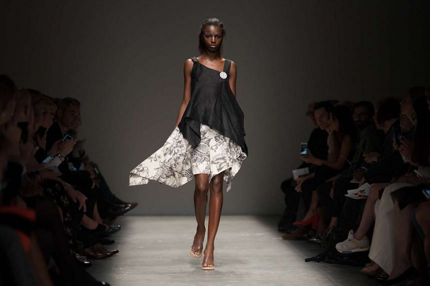 A model presents a creation by designer Vivienne Westwood during a presentation at the Spring / Summer 2016 London Fashion Week in London on Sept 20, 2015.