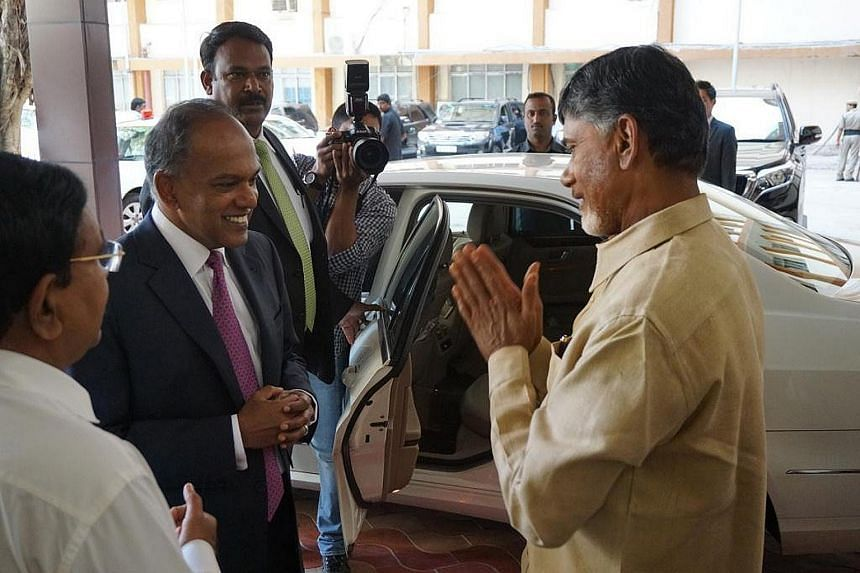 Foreign Affairs and Law Minister K. Shanmugam meeting Andhra Pradesh Chief Minister Chandrababu Naidu yesterday in Hyderabad on Feb 26, 2015.