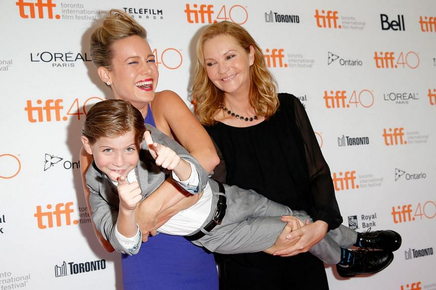 Actors (from left) Jacob Tremblay, Brie Larson and Joan Allen attend the premiere for the film Room during the 2015 Toronto International Film Festival at the Princess of Wales Theatre on Sept 15, 2015 in Toronto, Canada.