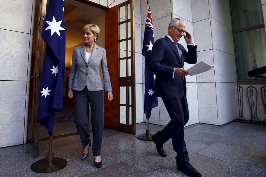 Australian Prime Minister Malcolm Turnbull with Foreign Minister Julie Bishop before the Cabinet reshuffle announcement.
