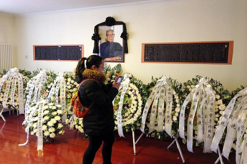 Wreaths sent by President Xi Jinping and other leaders for Mr Zeng Yanxiu's funeral in March. Mr Zeng, the first party member to be purged in the 1957 Anti-Rightist movement against liberal intellectuals, died in Beijing on March 3, say sources.