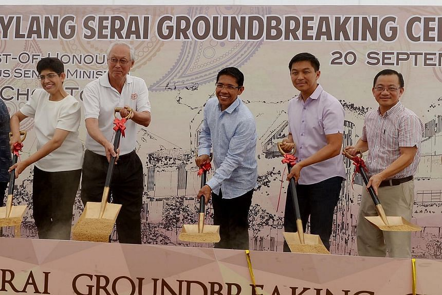 (Above, from left) Associate Professor Fatimah Lateef, Mr Goh Chok Tong, Dr Maliki Osman, Mr Tan Chuan-Jin and Mr Seah Kian Peng at the groundbreaking of Wisma Geylang Serai yesterday. (Below) An artist's impression of the centre, which is set to ope