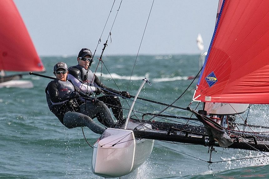 Singapore sailors Denise Lim and Justin Liu forked out about $50,000 of their own money over the past year to fund their Olympic dream. Yesterday, they became the first Singaporean sailors to win at a World Cup leg while also enabling Singapore to qu