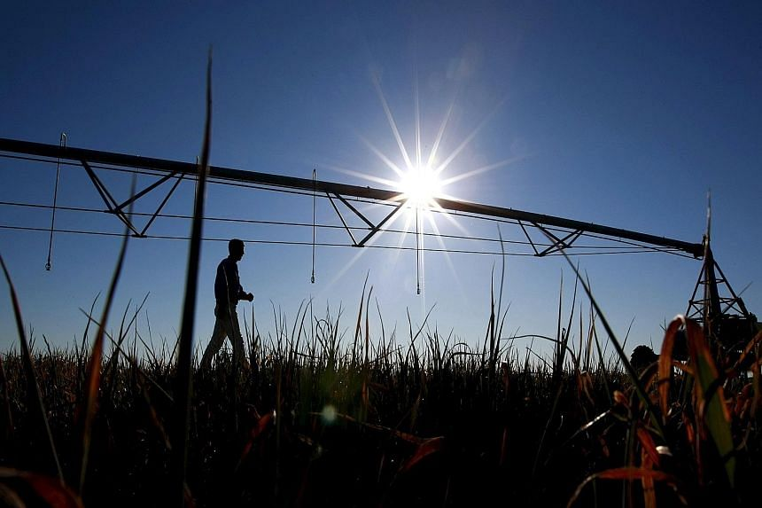A farmer beside a mobile irrigation boom on his oat farm in Australia's Murray-Darling river basin. Dry weather has sparked calls for changes to the water management plan as farmers say too much water is being used for the environment.