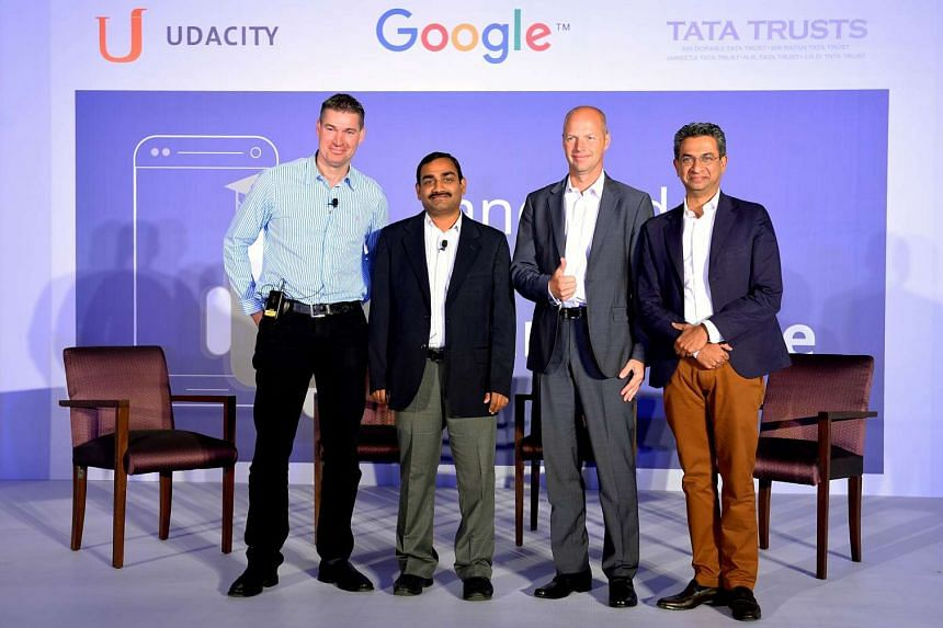 (Left to right), Senior Program Manager (Developer Relations) for Google Peter Lubbers, Development Manager for Tata Trusts Ganesh Neelam, Founder and CEO of Udacity Sebastian Thrun and Managing Director for Google South East Asia and India Rajan Ana