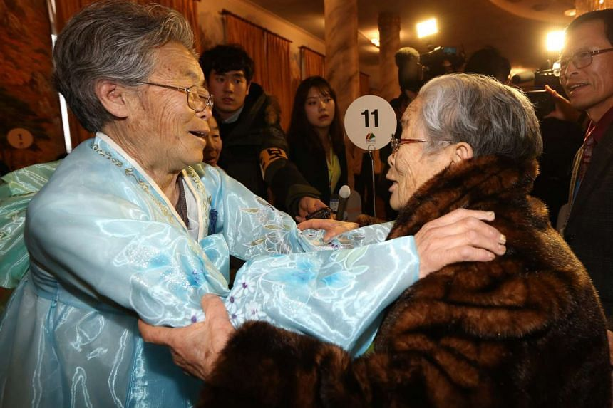 South Korean resident Kim Sung-yun, 95, reuniting with her younger sister from North Korea, Kim Suk-ryeo, 79, during the reunions of separated families at Mount Kumgang resort, Kangwon Province, North Korea's east coast.