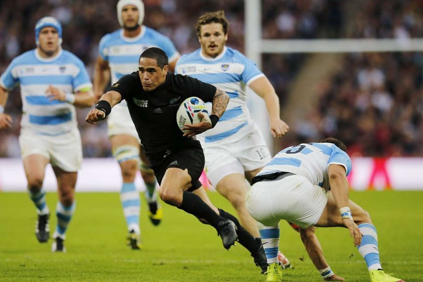 New Zealand's Aaron Smith in action against Argentina at the Rugby World Cup in London's Wembley stadium on Sunday.