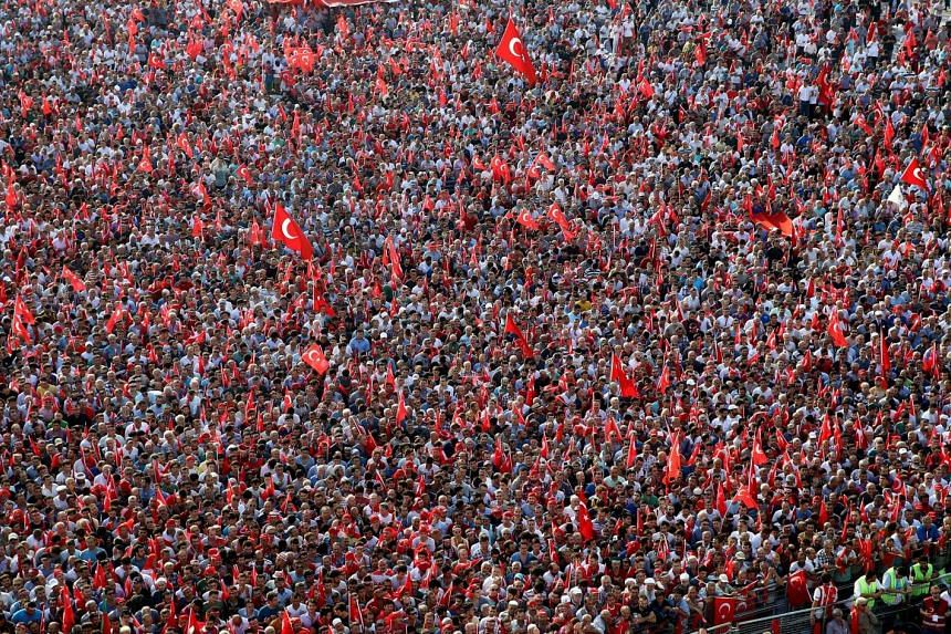 Thousands of people wave Turkish flags during a rally against what they claim is 'PKK terror' in Istanbul on Sunday in a handout picture from the Turkish President Press office.