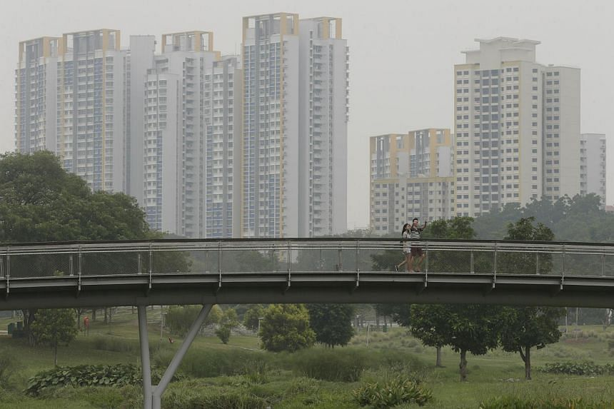 A couple crossing the bridge at Bishan Park on Sept 18, 2015.