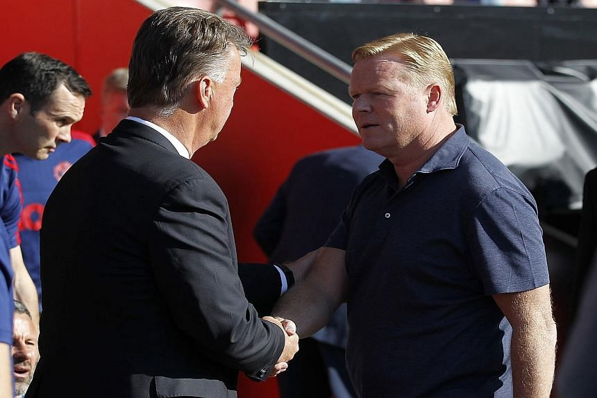 Ronald Koeman (right), shaking hands with Louis van Gaal before the match, said his Southampton team had only themselves to blame for the 2-3 loss since they gifted two soft goals to Man United.