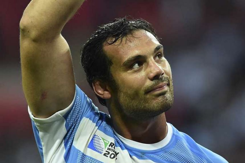 Argentina's lock Mariano Galarza gestures after during a Pool C match of the 2015 Rugby World Cup between New Zealand and Argentina at Wembley stadium on Sunday.