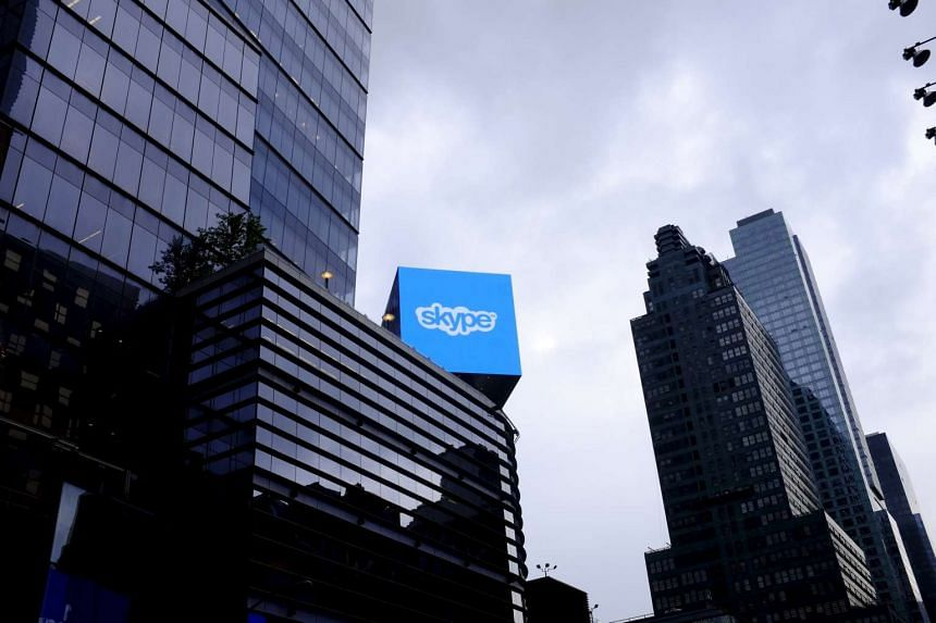 An advertisement for Skype is seen over 42nd Street in New York.