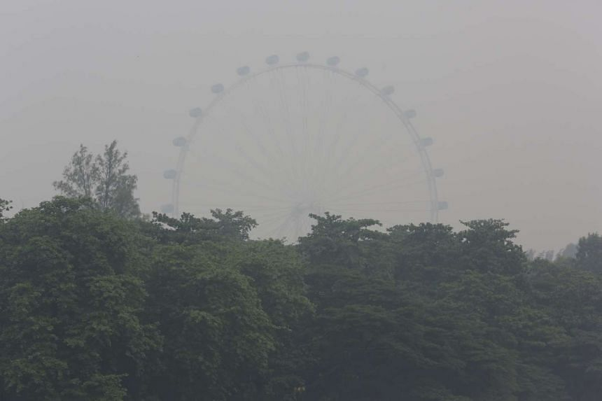 Haze surrounding the Singapore Flyer at around 3pm on Sept 22, 2015.