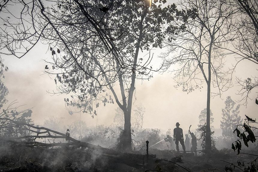 Indonesian police spraying water on a peatland fire in Kampar, Riau province on the Indonesian island of Sumatra Sept 20, 2015, in this photo taken by Antara Foto.