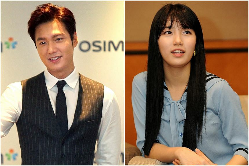 Lee Min Ho (left) and Suzy on Tuesday denied reports that they are no longer together.
