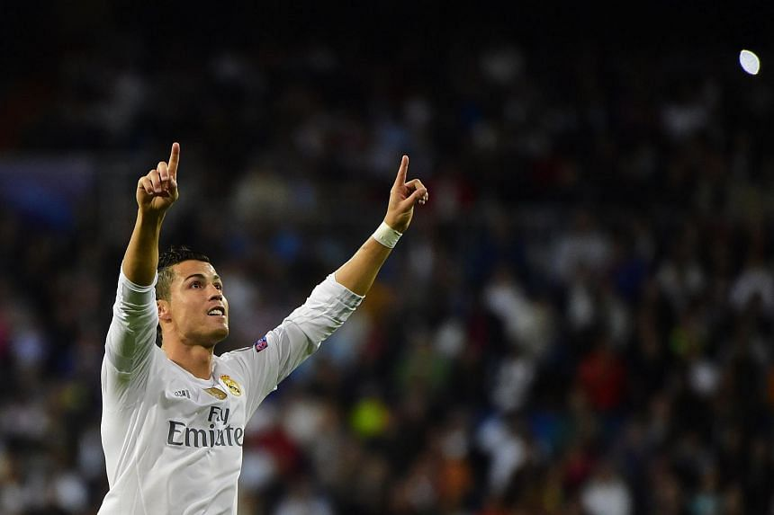 Cristiano Ronaldo celebrates his second goal during the Uefa Champions League group A football match between Real Madrid CF vs FC Shakhtar Donetsk.
