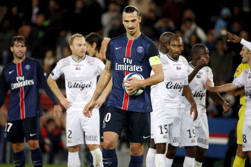 Zlatan Ibrahimovic prepares to shoot a penalty kick during the match against Guingamp on Sept 22, 2015.