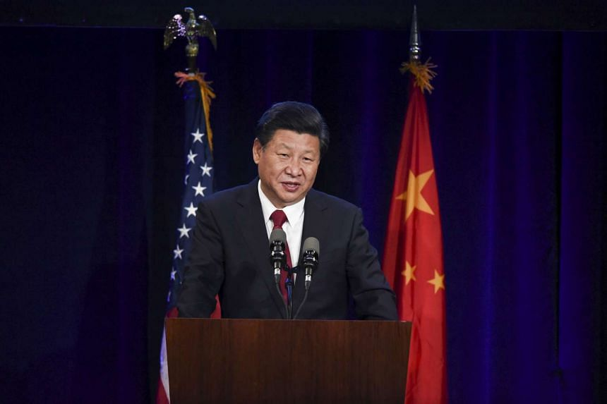 Chinese President Xi Jinping delivering a policy speech to Chinese and United States CEOs during a dinner reception in Seattle, Washington on Sept 22, 2015. Mr Xi landed in Seattle on Tuesday to kick off a week-long US visit that will include meeting