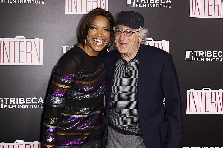 Robert De Niro at the New York premiere of his latest film, The Intern, with his wife Grace Hightower.