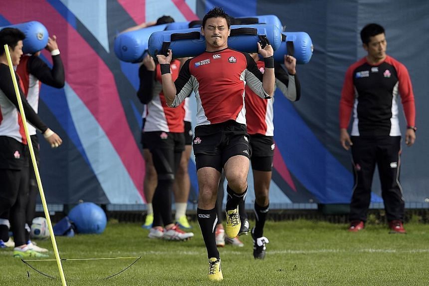 Japan's full-back Ayumu Goromaru during training. He played a critical role in the upset 34-32 win over South Africa, scoring a try, two conversions and kicking five penalties for a game-high 24 points.