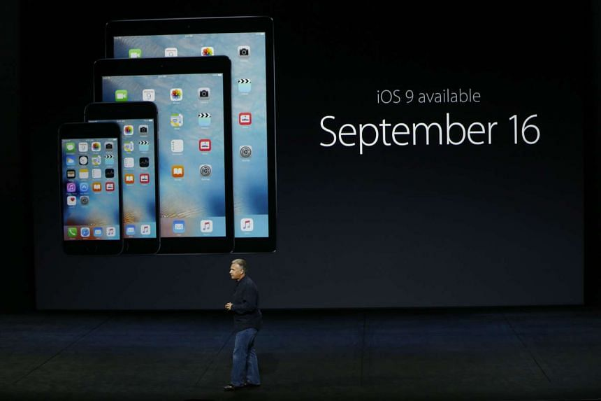Apple senior vice-president of worldwide marketing Phil Schiller speaks about iOS 9 availability at a Sept 9 Apple special event.