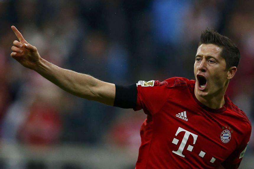 Robert Lewandowski reacts after scoring one of five goals for Bayern Munich.