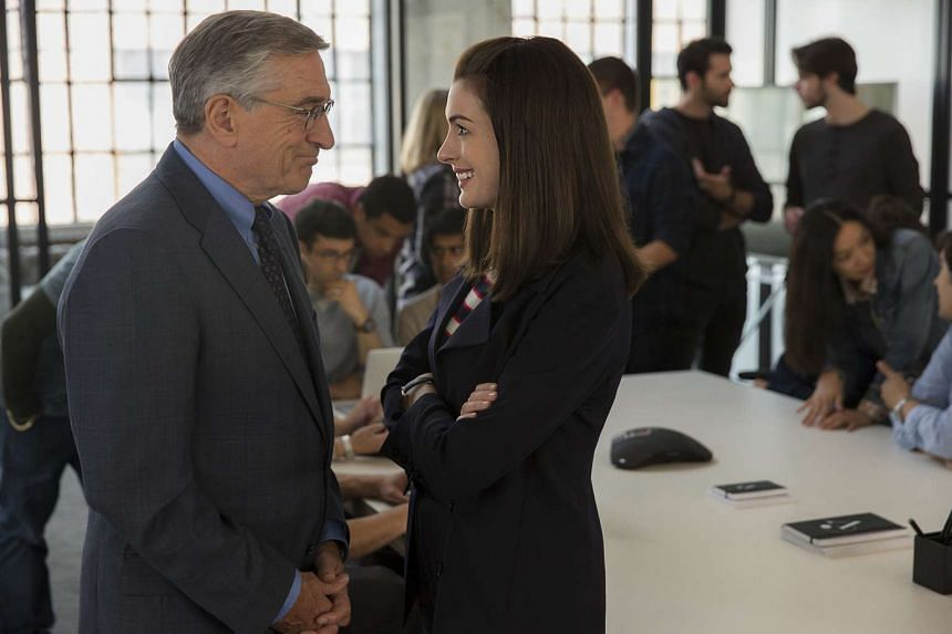 Chow Yun Fat and Sylvia Chang play company chiefs in Office, while Robert De Niro is an intern working for Anne Hathaway (both above) in The Intern.