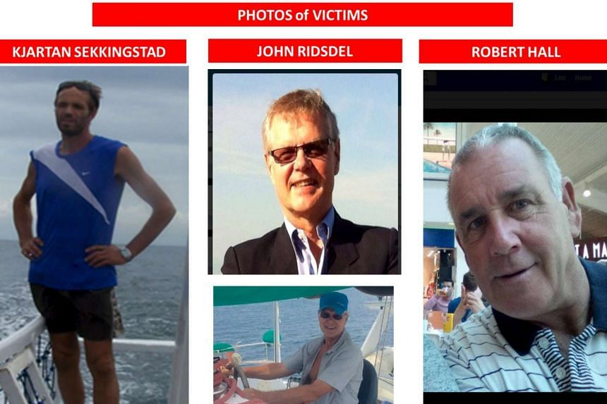 Among those abducted are (from left) Norwegian resort manager Kjartan Sekkingstad, Canadian tourists, John Ridsdel (centre photos) and Robert Hall. According to the Philippine army, there were about 30 foreign tourists at the resort at the time of t