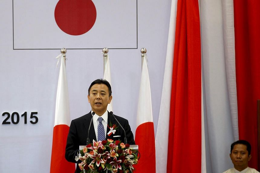 Japan's State Minister of Economy, Trade and Industry Yosuke Takagi during the opening ceremony of the Thilawa Special Economic Zone (SEZ) on Sept 23, 2015.