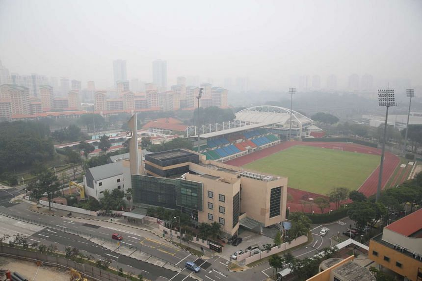 The hazy conditions seen at Bishan Town on Sept 24, 2015, at 12.30pm.