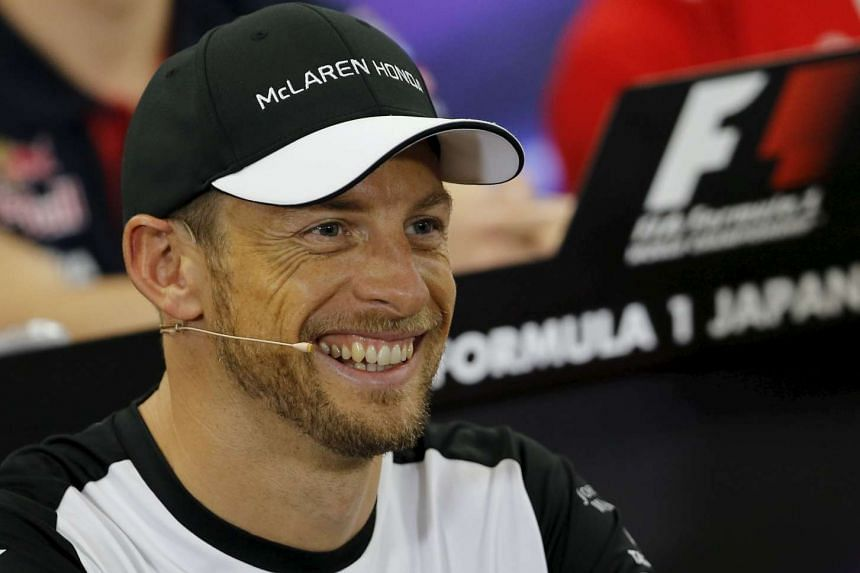 Jenson Button attends a news conference in Suzuka, Japan on Sept 24, 2015.