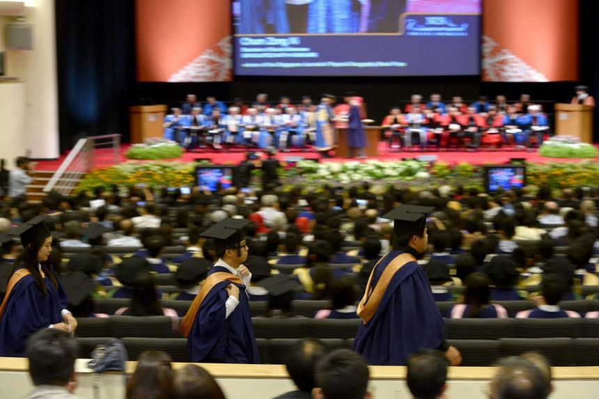 The graduation ceremony at National University of Singapore on Jul 7, 2015.