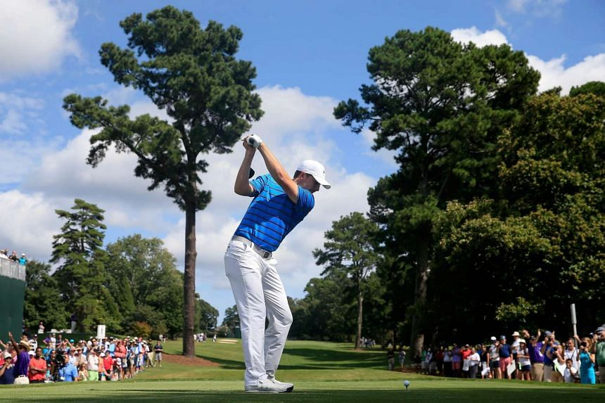 Jordan Spieth of the United States plays a shot during a practice round for the TOUR Championship By Coca-Cola at East Lake Golf Club on Sept 23, 2015 in Atlanta, Georgia.