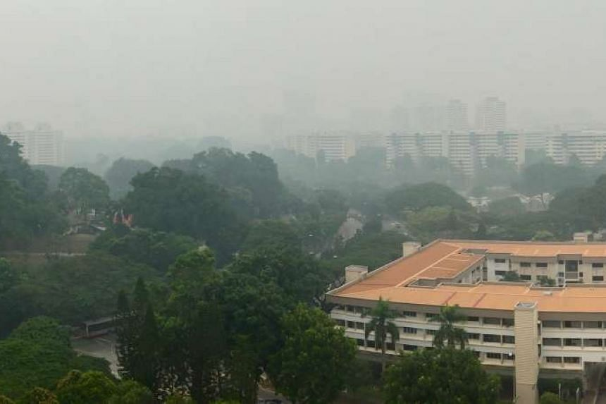 The hazy conditions overlooking Clementi Road on Sept 24, 2015, at about 11am.
