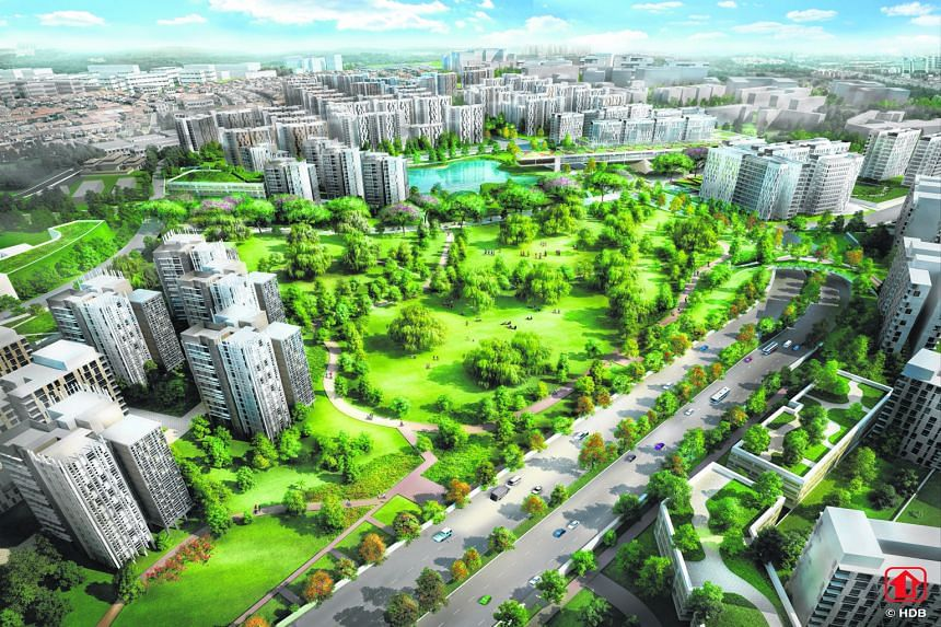 An artist's impression of the future Bidadari estate. The first Two-Room Flexi flats will be offered in the next BTO exercise in November in Bidadari, Bukit Batok, Choa Chu Kang, Punggol and Sengkang.