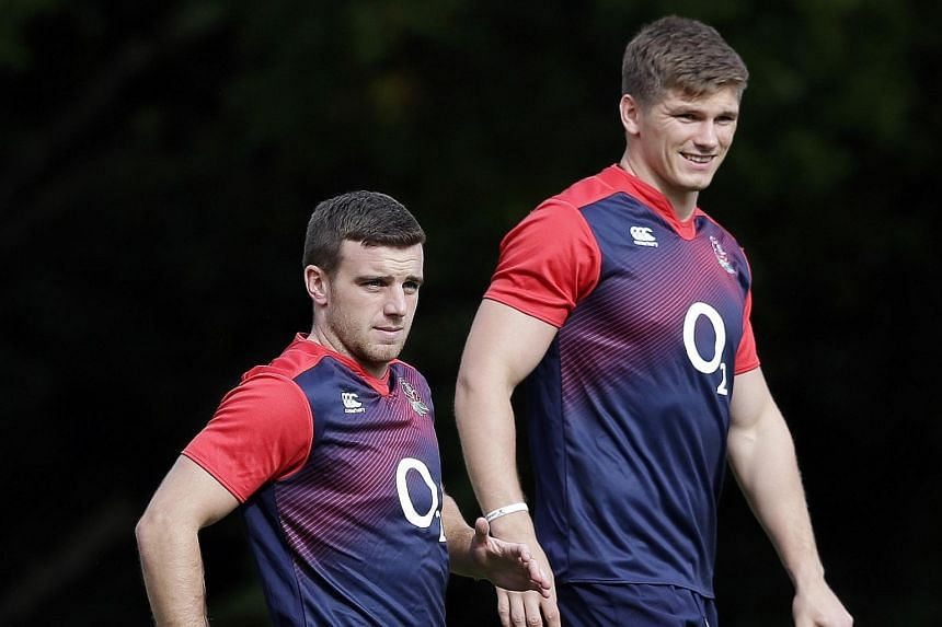 England fly-halves George Ford (left) and Owen Farrell during training. The former did not impress against Fiji and was replaced in the 62nd minute by the latter, who performed better and will start against Wales.