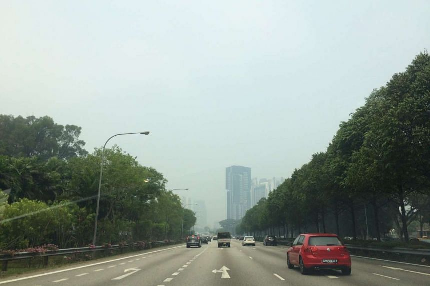 The hazy skies seen on the Pan Island Expressway towards MacPherson on Sept 24, 2015, at 2.25pm.