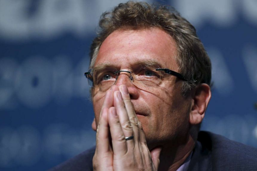 Jerome Valcke listens to a question in this Feb 18, 2014 file photo.