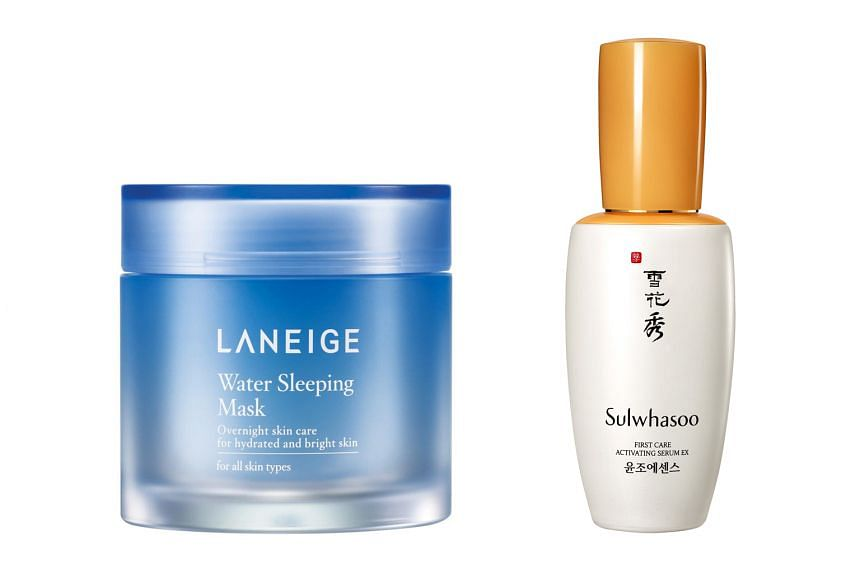 Among the beauty products pioneered by Amorepacific are a stamp ink pad-inspired cushion compact which led to Laneige's BB Cushion; the Laneige Water Sleeping Mask, a skin- quenching leave-on gel mask (left); and Sulwhasoo's First Care Activating Ser