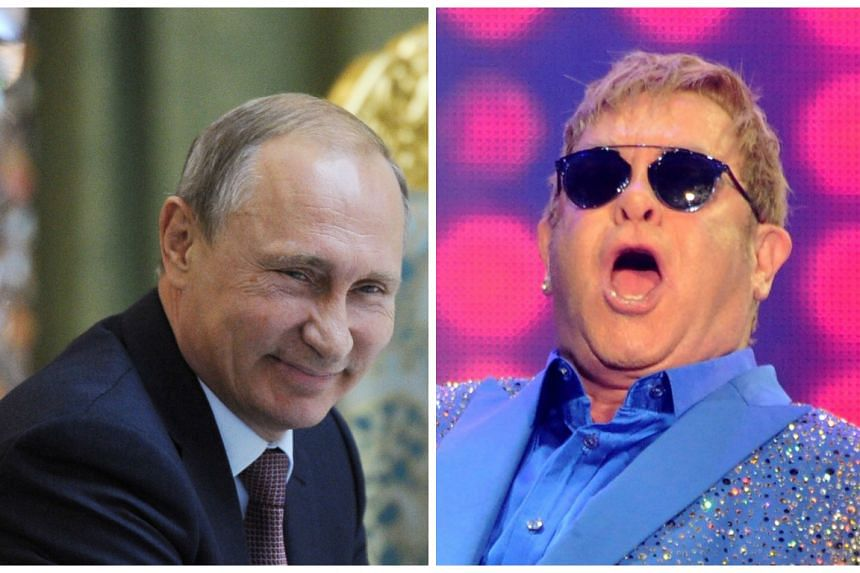 Vladimir Putin (left) phoned Elton John (right) to tell him he would be ready to meet up for a chat.