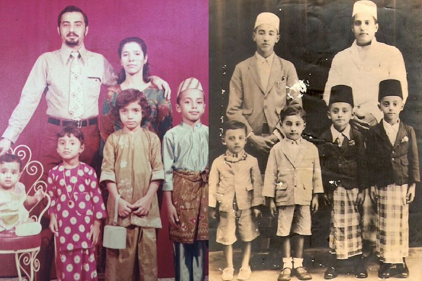 Dr Sharifah Mariam Aljunied (front row, third from left) and her immediate family in the 1970s.