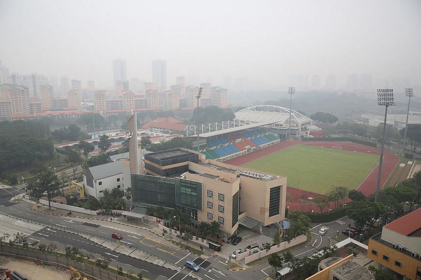 The haze as seen at Bishan Town on Sept 24, 2015.