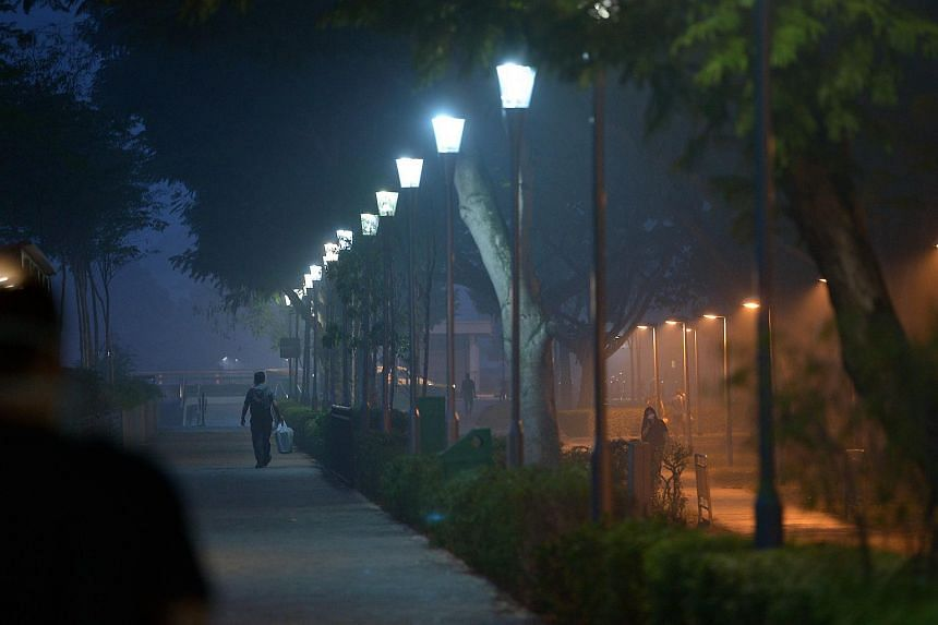 A park connector located at Guillemard Road shrouded in a blanket of haze at about 6.30am on Sept 25, 2015.