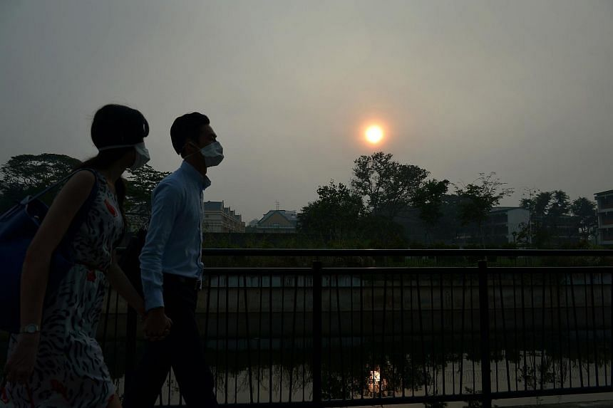 A couple walking along a park connector located at Guillemard Road that was shrouded in a blanket of haze at about 7.30am on Sept 25, 2015.