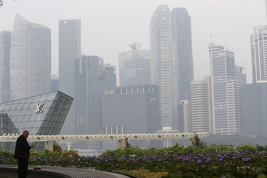 A man smoking a cigarette next to the haze-shrouded skyline in Singapore on Sept 25, 2015.