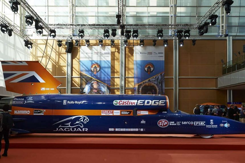 The supersonic car is a mix of car and aircraft technology, and is powered by a jet engine and a rocket together with a petrol engine auxillary power unit.